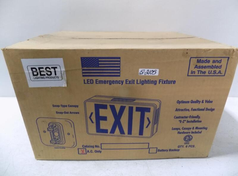 BEST LIGHTING LED EMERGENCY EXIT LIGHTING FIXTURE A.C. ONLY RED LETTERING NIB