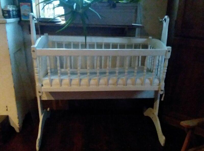 Vintage Wooden Baby Cradle