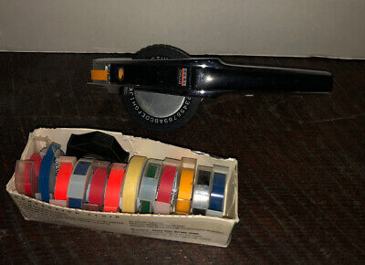 Vintage Dymo 1570 Esselte Chrome Label Maker With 13 Spools Of Tape