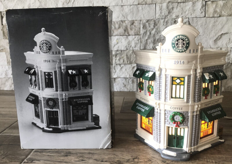 RARE STARBUCKS COFFEE Dept 56 ChristmasHoliday Snow Village Lighted W/ Box!