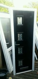 Black Composite Door 750x2100 6Month old VGC Delivery available- ask