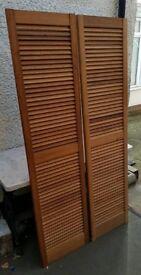 Pair of Pine Louvre Doors Vented Open Slatted, 1829 x 457mm Wardrobe & Cabinet Doors