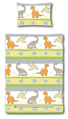 Dino Baby Kinder Bettwäsche 100 x 135 cm mit Reißverschluss Microfaser ()