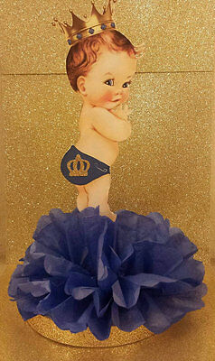 ROYAL LITTLE PRINCE BLUE GOLD CENTERPIECE BIRTHDAY PARTY BABY SHOWER TABLE - Little Prince Baby Shower Decorations