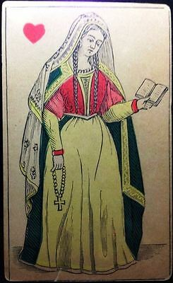 c1870 Historic French Playing Card Full court Queen of H + 6 of  S Transparent