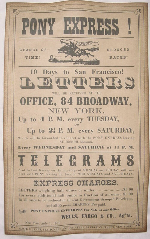 Wells Fargo Pony Express Ad, Poster, old west, western, wanted