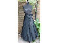 Designer Black Beaded Evening/Prom dress with shawl - Size 10 new with tags £70 ono