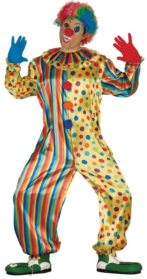 Mens Ladies Colourful Clown Circus Festival Fancy Dress Costume Outfit Large