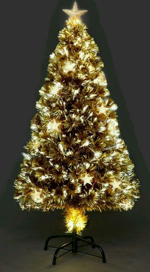 Beautiful 6ft gold fibre optic Christmas tree with stars. - Beautiful 6ft Gold Fibre Optic Christmas Tree With Stars. In St