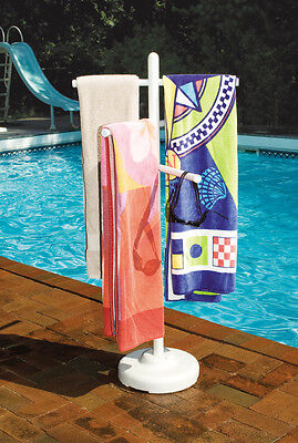 Hydrotools 89032 Indoor Outdoor Swimming Pool Spa Weighted Poolside Towel Rack