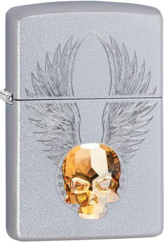 Zippo Gold Skull Design, Swarovski Crystal, Satin Chrome Windproof Lighter 49034