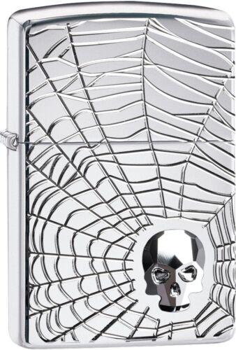 ZIPPO 167 Spider Web Skull Design Lighter 29931 **NEW RARE COOL UNIQUE L@@K**