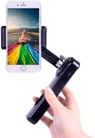 Handheld Stabilizer for Smartphone 2 Axis Folding with face detection, time lapse APP (Black)