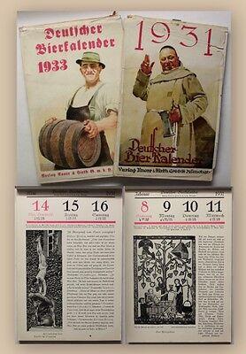 2x Deutscher Bierkalender 1931 und 1933 Brauer Mälzer alte Berufe illustriert xy