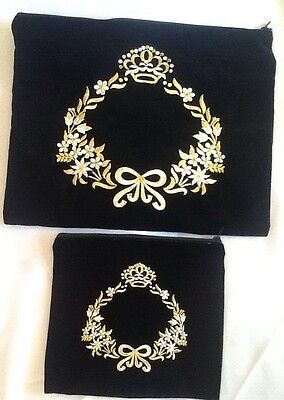 SET Bags Tallit &Tefillin Silver And Gold Embroidered Black Velvet NEW