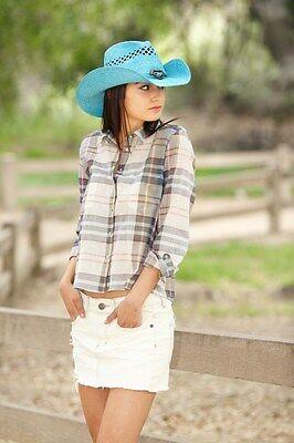 LADIES  TOYO COWBOY HAT ---   BLUE with HEART TRIM  - 30 DIFFERENT STYLES -- NEW - Different Cowboy Hat Styles