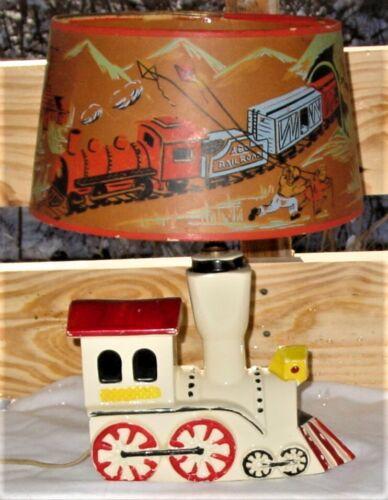 Vintage Shawnee Nursery Choo Choo Train Lamp Original Shade Child/ Baby Decor