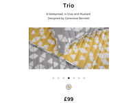 Made Trio Bedspread in Mustard and Grey 200cm x 200cm RRP £99