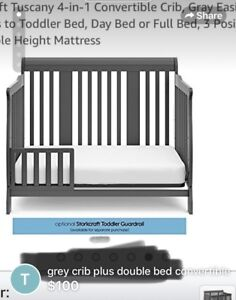 Grey baby crib with conversation which turns day/double bed