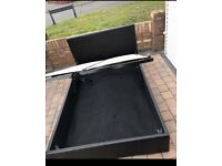 Black leather ottoman 4ft small double bed frame