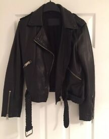 All saints Black leather jacket size 8