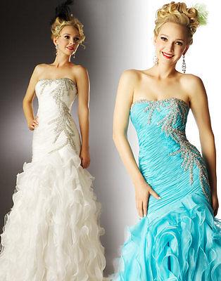 Mac Duggal 6168 Aqua Rhinestoned Pageant Prom Gown sz 16