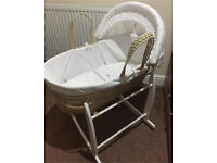 Love you to the stars Moses basket with Clair de lune deluxe rocking stand