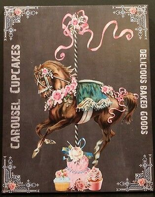 Shabby Custom Carousel Horse Cupcakes Roses Kitchen Bakery Wood Wall Plaque Sign