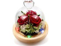 Handmade Preserved Flower Red Rose with 5 Led Lights 10 Color Flashing Heart Design