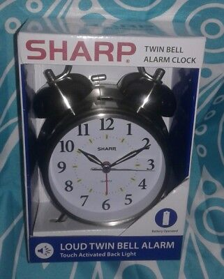 New In Package Sharp Twin Bell Quartz Alarm Clock