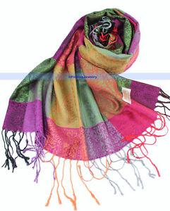 New-Soft-Pashmina-Cashmere-Silk-Shawl-Scarf-Multi-Color-FJUS