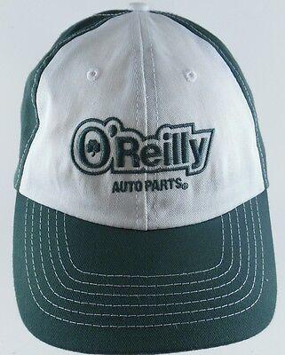 Oreilly Auto Parts Strapback Adjustable Cap Hat Green White Clover 100  Cotton