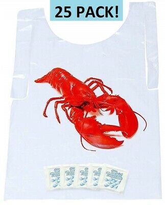 Lobster Bib and Wet Nap Wipe 25 Pack! - Disposable, Seafood, Moist Towelettes   (Lobster Bib)
