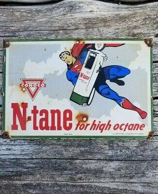 RARE OLD VINTAGE 1946 CONOCO N TANE PORCELAIN SIGN SUPERMAN DC MARVEL COMIC BOOK