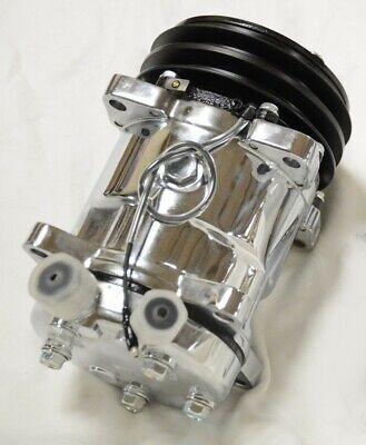 CHROME 508 V Belt A/C AC Air Conditioning Compressor R134A street rod custom