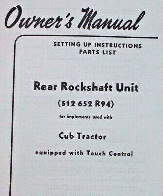 Ih International Harvester Farmall Cub Hydraulic Rockshaft Owners Manual Late