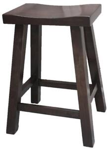 Handcrafted Custom Build Solid Wood Saddle Bar Stools for Your DIY Kitchen Renovation Project - Ship Across Canada