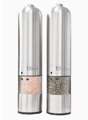 iTouchless Automatic Electric Salt and Pepper Grinder Set – Stainless Steel C...