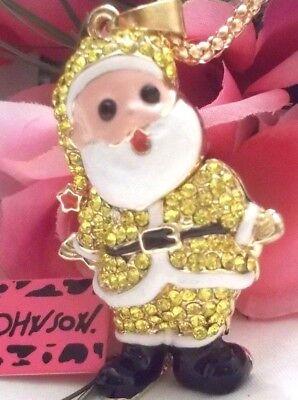 BETSEY JOHNSON SPARKLING HO HO GOLD SANTA CRYSTAL & ENAMEL PENDANT - Ho Ho Ho Necklace