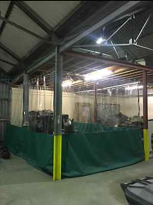 COMMERCIAL HALF CLEAR & GREEN INDUSTRIAL DUST PREVENTION CURTAINS  20FT X 9 FT