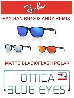 RAYBAN RB4202 ANDY REMIX MATTE BLACK FLASH POLAIRZED sunglasses ray ban (Cheap Sunglasses Remix)