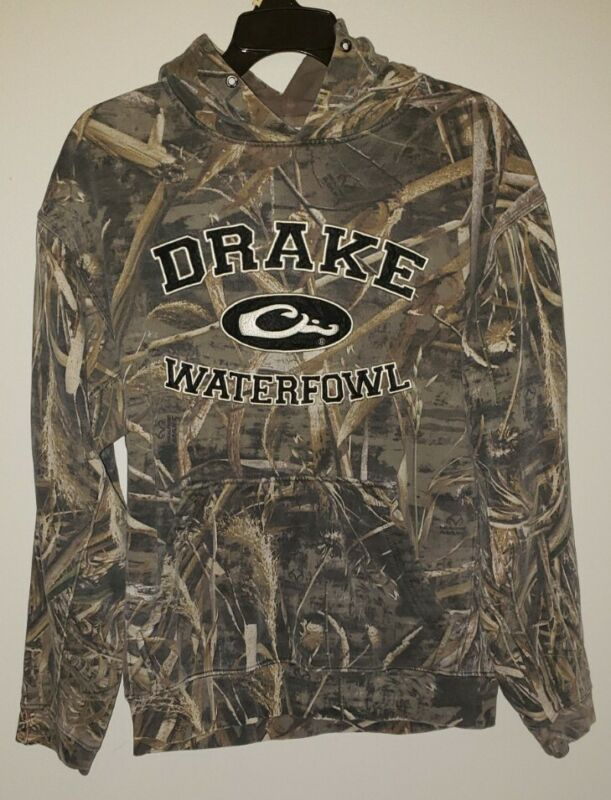 DRAKE WATERFOWL SYSTEMS CAMO PERFORMANCE HOODIE DISTRESSED CAMO Size Large