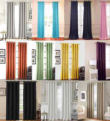 Wide Thermal (2 PANEL SET GROMMET THERMAL LINED BLACKOUT WINDOW CURTAIN DRAPE 55