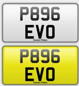 Private plate EVO, Mitsubishi Evolution, Registration number