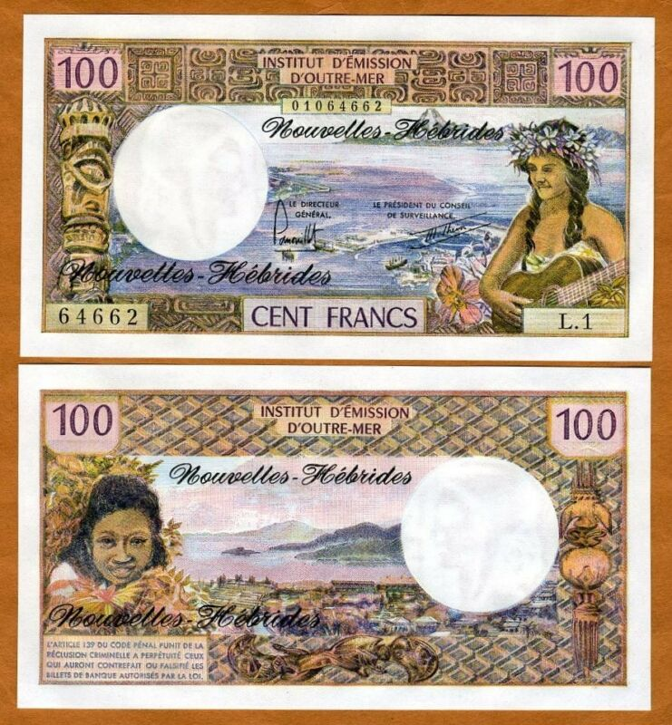 New Hebrides, 100 Francs, ND (1977), Pick 18d, French Colonial (now Vanuatu) UNC