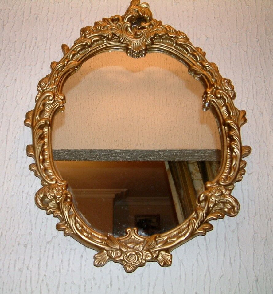 Vintage Gilt Ornate Mirror Large Baroque Rococo Gold Wall 25