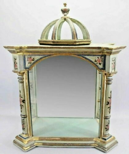 19C Italian Polychromed Mirrored Vitrine Display Cabinet