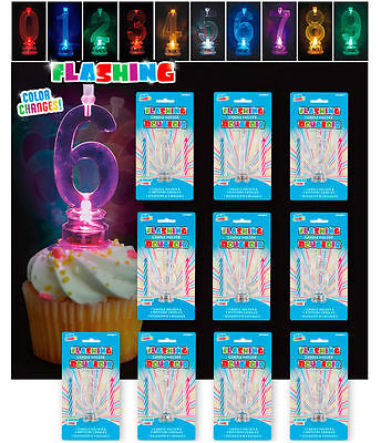 Flashing Number Candle Holder Birthday Cake Candles Toppers](Numbered Candles)