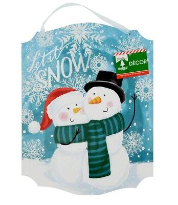 Winter Christmas Decor - Christmas Snowman Wooden Decor wall door Hanging Sign Glitter Couple Snow Winter
