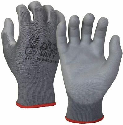 Wolf Ultra-thin Grey Work Gloves Polyurethane Palm Coated Nylon Shell 12 Pairs
